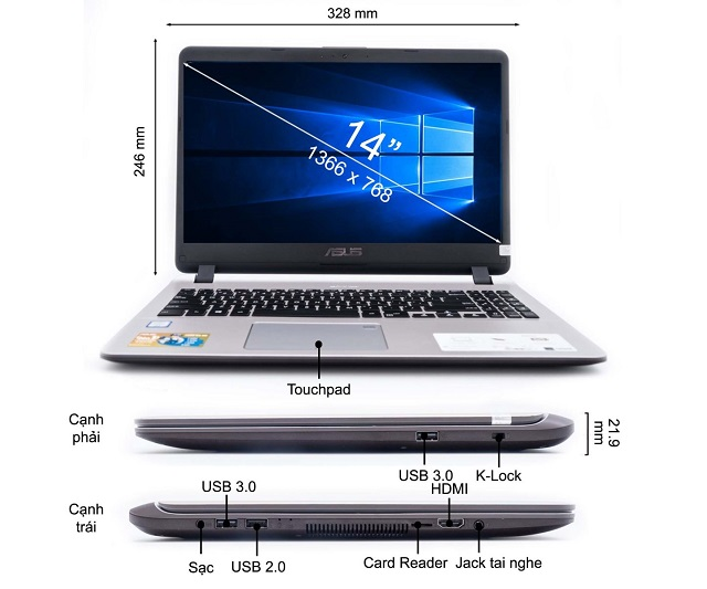 Laptop ASUS Vivo X407MA-BV043T